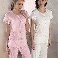 Yarım Kol Sade Pijama Takım Artış 1321