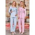 Bayan Hamile Pijama Takımı Uzun Kollu Berrak 392