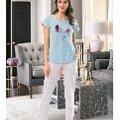 Bayan Kısa Kol T-Shirt - Uzun Alt Pijama NBB 66300