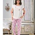 Bayan Kısa Kol T-Shirt - Uzun Alt Pijama NBB 66302