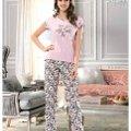Bayan Kısa Kol T-Shirt - Uzun Alt Pijama NBB 66307