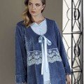 Bayan Pijama Takımı 3 Lü Kadife Artış 2310