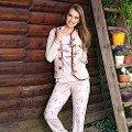 Bayan Uzunkol Yelek Pijama Takım Anıl 9476