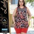 Büyük Beden Bayan Pijama Renkli Şortlu Lady 376