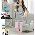 Deep Black 469 Kız Çocuk Tayt Pijama Takım