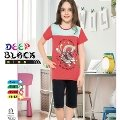 Deep Black 473 Kız Çocuk Kapri Pijama Takımı