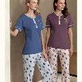 Gül Desen Pijama Takım Fantasy F5037