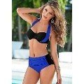 Kaplı Mavi Siyah Şık Tasarımlı Yüksek Bel Bikini