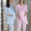 Lohusa 3 Lü Pijama Takımı Çiçekli Artış 2306