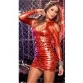 Maxpera Lame Düz Kırmızı Mini Elbise 3024-1