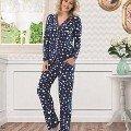 NBB Bayan Önden Düğmeli Yıldız Desenli Pijama 6941