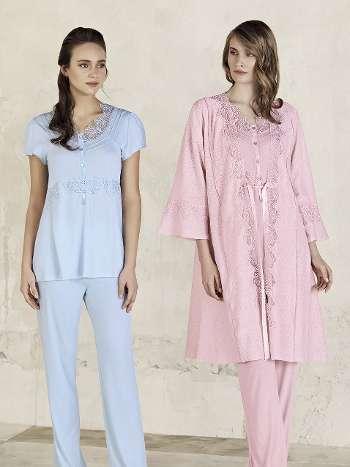 3lü Sabahlık Pijama Takım Artış 3404