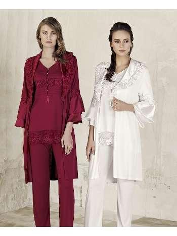 3lü Sabahlık Pijama Takım Artış 3408