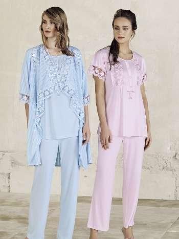 3lü Sabahlık Pijama Takım Artış 3410