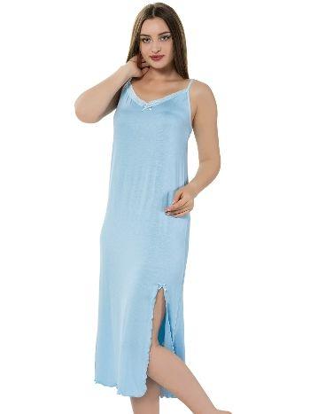 Akbeniz Bayan İp Askılı Uzun Mavi Gecelik 914