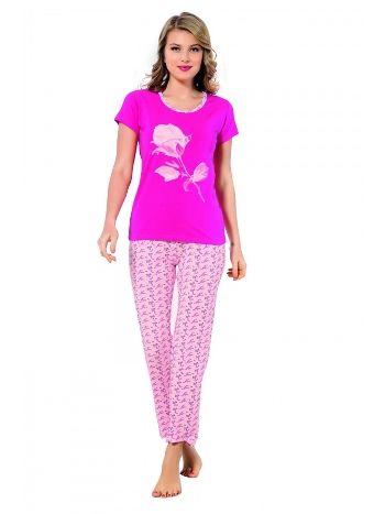Akbeniz Pembe Gül Desenli Bayan Pijama Takımı 2337