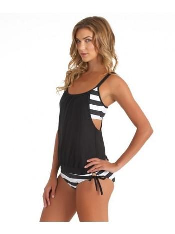 Angelsin Siyah Beyaz Kalın Cizgili Tankini Bikini Takım