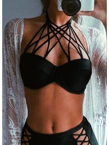 Angelsin Siyah Şık Bikini Üst