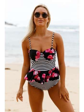 Angelsin Yüksek Bel Etek Gürünümlü Destekli Bikini Takım