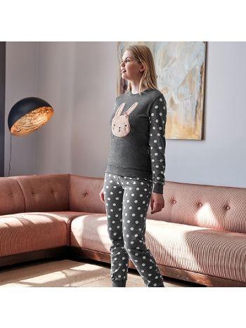 Anıl Füme Uzun Kollu Pijama Takım 9563