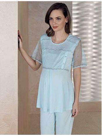 Kolları Tüllü Lohusu Pijama Takım Artış 1308