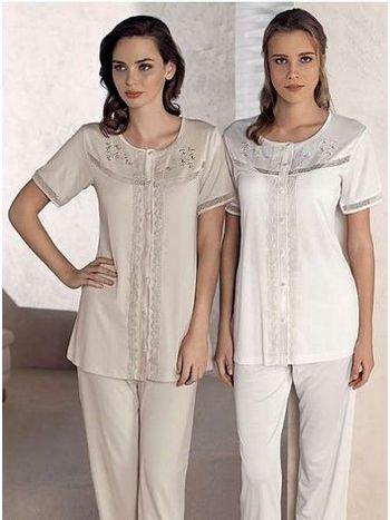 Yakası Çiçekli Pijama Takım Artış 1309