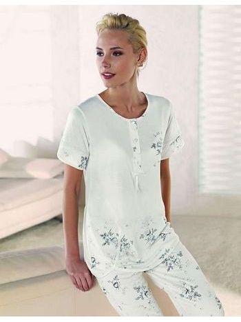 Üstü Sade Çiçek Desenli Pijama Takım Artış 1315