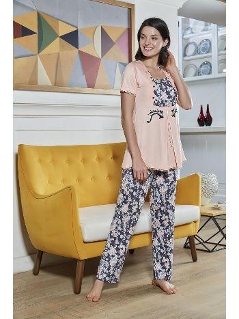 Baskılı Lohusa PijamaTakım Bone Club 4326