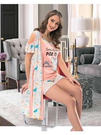 Bayan 3.Lu Sabahlik PijamaTakım NBB 66283
