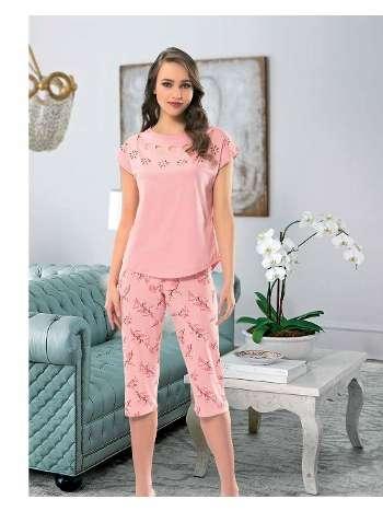 Bayan Kısa Kol Kaprıli Pijama NBB 66247