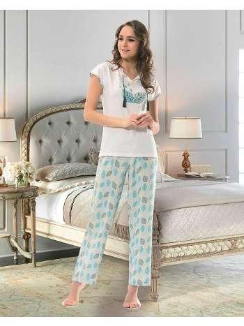 Bayan Kısa Kol T-Shirt - Uzun Alt Pijama NBB 66311