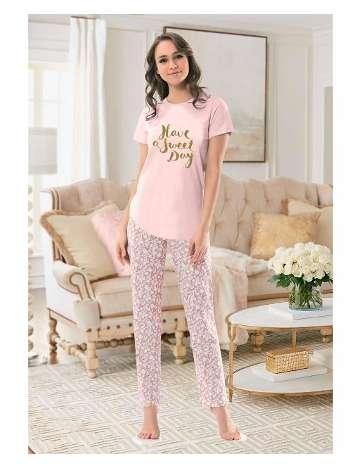 Bayan Kısa Kol T-Shirt - Uzun Alt Pijama NBB 66314