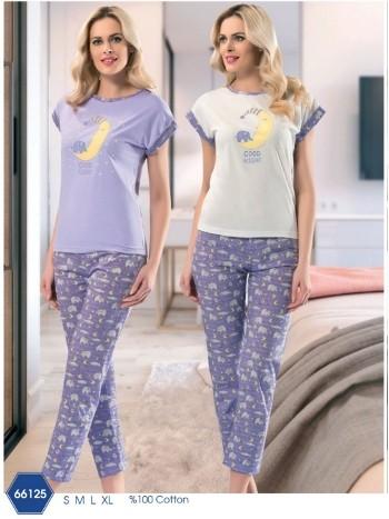 Bayan Kısa Kol Uzun Pijama NBB 66125