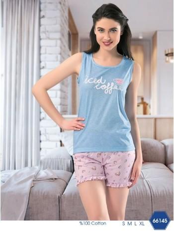 Bayan Pasta Askılı Şortlu Pijama Takımı NBB 66145