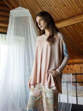 Bayan Pijama Takımı Pembe Renkli 2 li Takım Miss Loren 1417