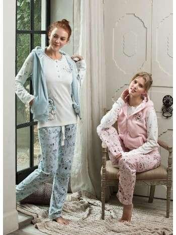 Bayan Pijama Yelekli 3 Lü Takım Feyza 3116