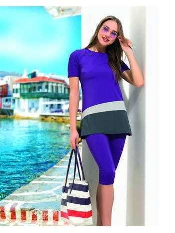 Bayan Üç Renk Kısa Kol Tesettür Mayo NBB 50861
