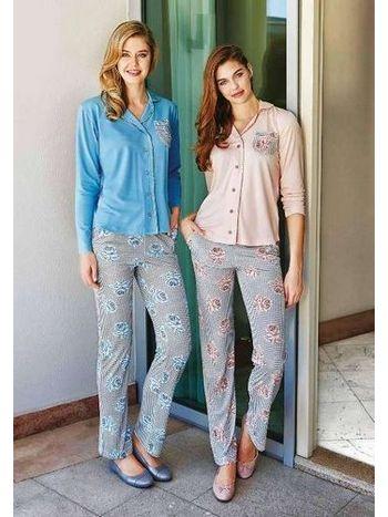 Uzun Kol Cepli Pijama Takım Berrak 304