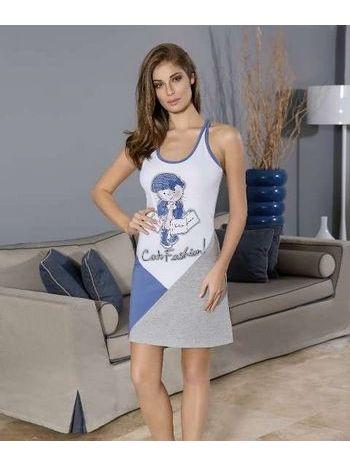 Berrak Bayan Kedi Baskılı Elbise 2738