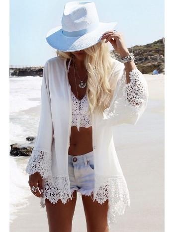 Beyaz Özel Tasarım Kolları Dantel Plaj Elbisesi Pareo