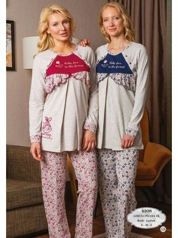 Bone Club 4208 interlok Çiçekli Lohusa Pijama Takımı