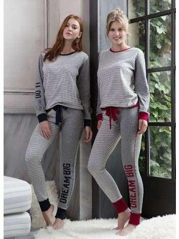Çizgili Bayan Pijama Takımı Feyza 3147
