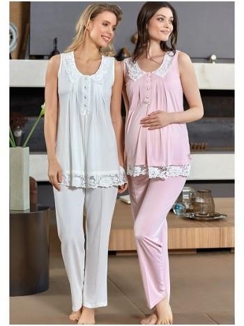 Dantel Yaka Pijama Takım Bone Club 4507