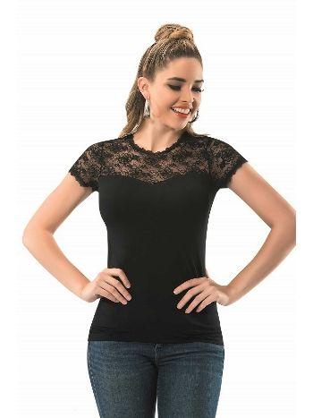 Dantelli Kısa Kol T-Shirt Anıt 2844