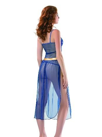 Denizgülü Saks Mavisi Uzun Gecelik 6027