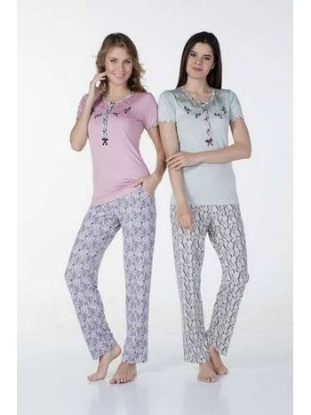 Desenli Dantel Pijama Takım Bone Club 4328
