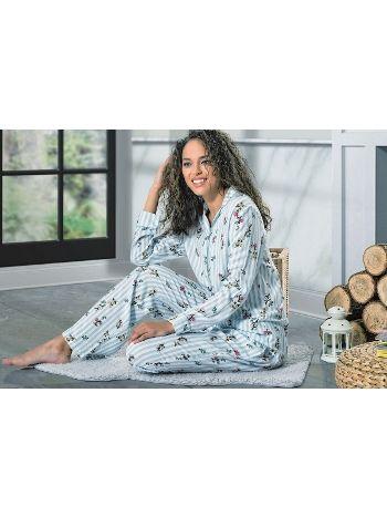Düğmeli Uzun Kol Bayan Pijama Takım NBB 66365