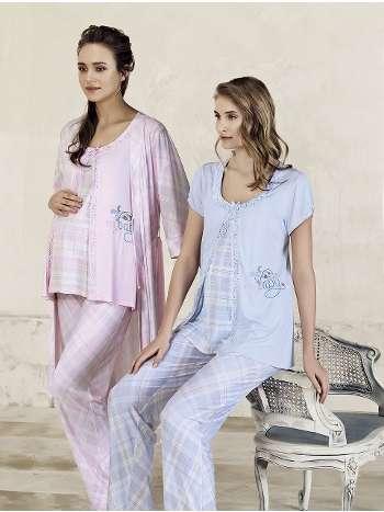 Ekose Lohusa Sabahlık Pijama Takım Artış 3414