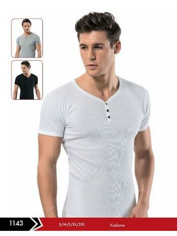 Fitilli Çıtçıtlı Erkek T-Shirt -3 lü Paket Erdem 1143
