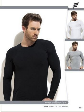 Pamuk Elastan Uzun Kol Erkek T-Shirt -3 lü Paket Erdem 1123